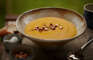 Warming Rogan Roast Carrot and Cashew Soup