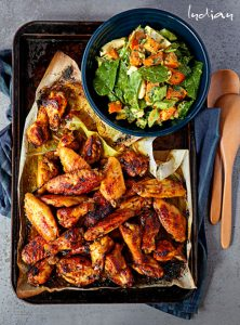 Zesty Indian Chicken Bites and Sweet Potato Salad with Sri Lankan Mayo