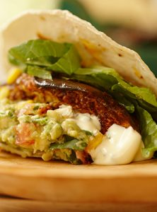 soft tacos with spiced eggplant and simple sides