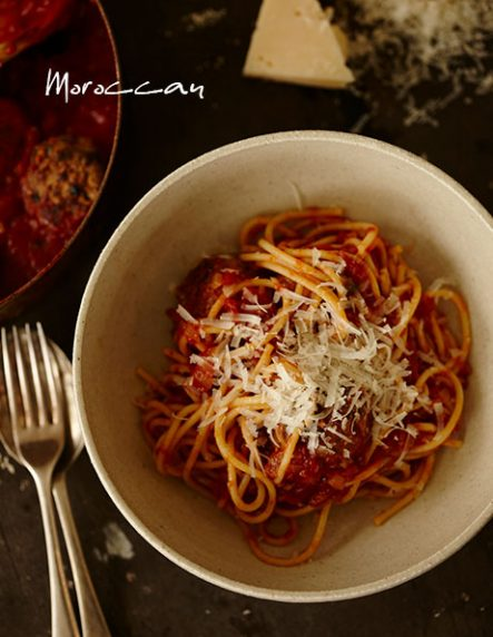 Moroccan Inspired Spaghetti with Meatballs